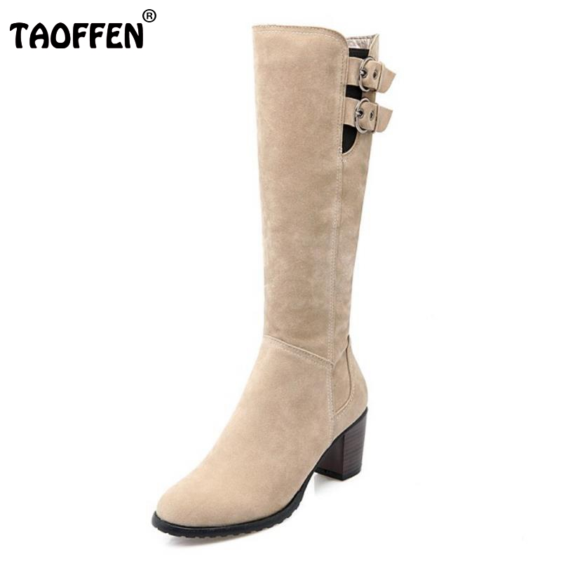 TAOFFEN Women Zipper Knee Boots Woman Square Heel Knight Boot Ladies Brand Warm Fur Winter Heeled Footwear Shoes Size 34-43 vesonal brand faux fur women shoes flats 2017 winter warm velvet female fashion ladies woman sneakers casual footwear tsj 189