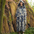 SCUWLINEN Vestido de Invierno 2016 Vestidos de Las Mujeres de La Vendimia Botones de la Placa de Impresión de Algodón Acolchado Capilla Más El Tamaño Grande Larga Túnica Ocasional S240