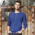 Pioneer camp outono dark blue striped t shirt homens 2017 novo T-Shirt dos homens de Manga Comprida Casual Slim Fit Sólidos Homens Tshirt 622016