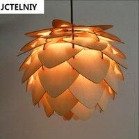 Люстра из цельной древесины Современный Nordic творческий минималистский гостиная столовая деревянная лампа