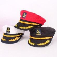 JUILE LI เด็ก Navy หมวกแฟชั่นหมวกทหารสีแดงสีดำสีขาวกัปตันคลาสสิกหมวกผู้หญิงเด็กหมวกกะลาสี