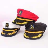 JUILE LI Parent-child navy hat cotton fashion military cap red black white classic captain hat men and women children sailor hat