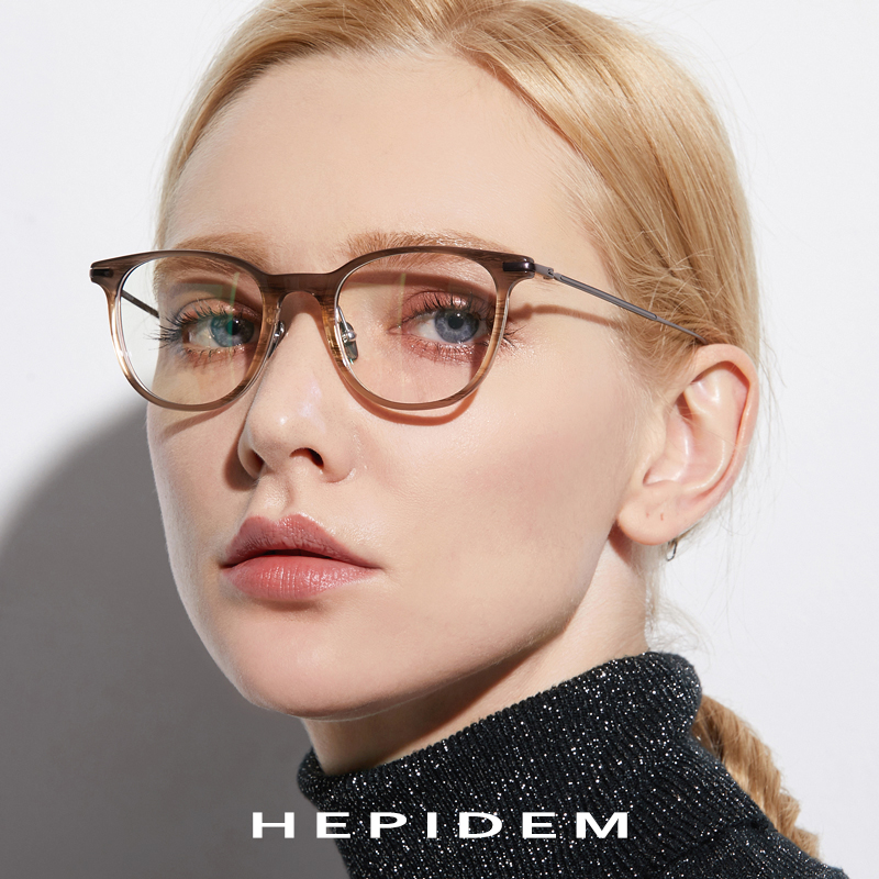 B Pure Titanium Glasses Frame Men Ultralight Acetate Women 2018 New Vintage Round Myopia Optical Prescription