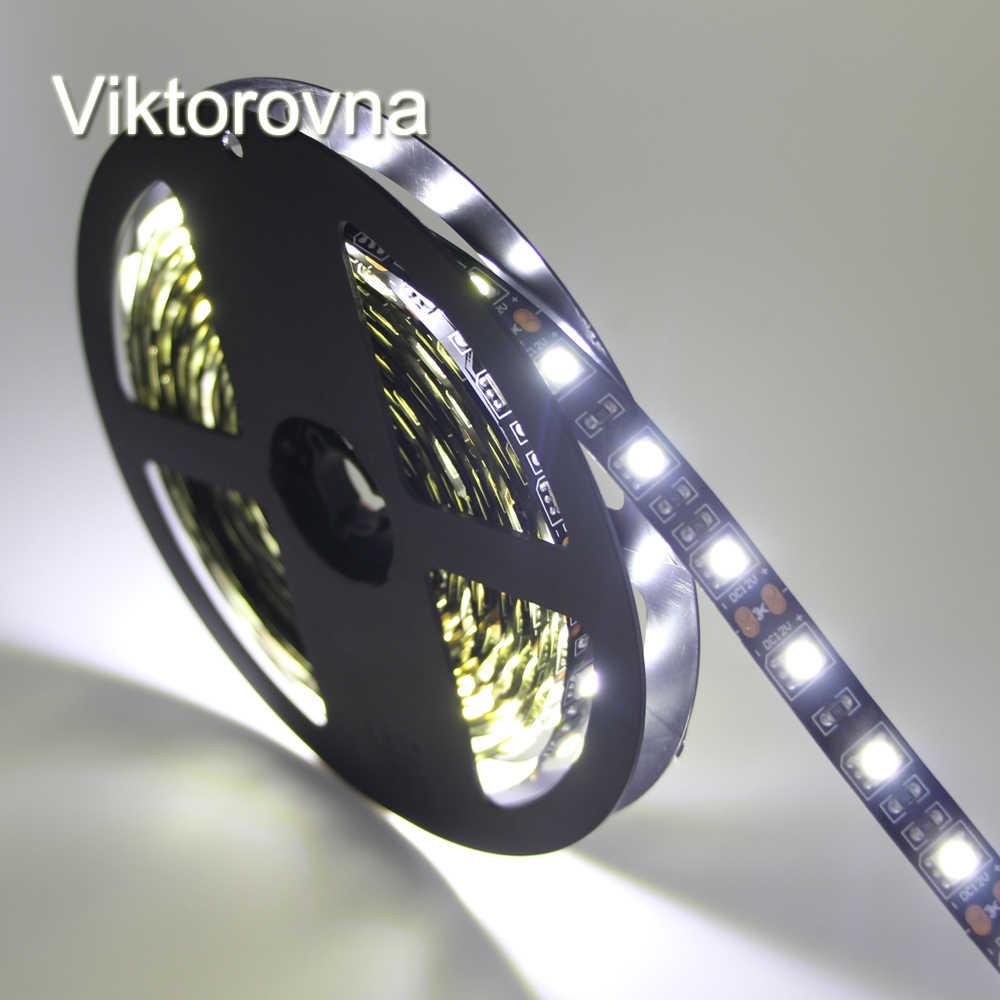 RGB LED רצועת 5050 SMD אור גמיש 12 V מגניב לבן/חם לבן/אדום/ירוק/כחול הגמיש השחור PCB LED רצועת כלים קלטת דיודה מנורת