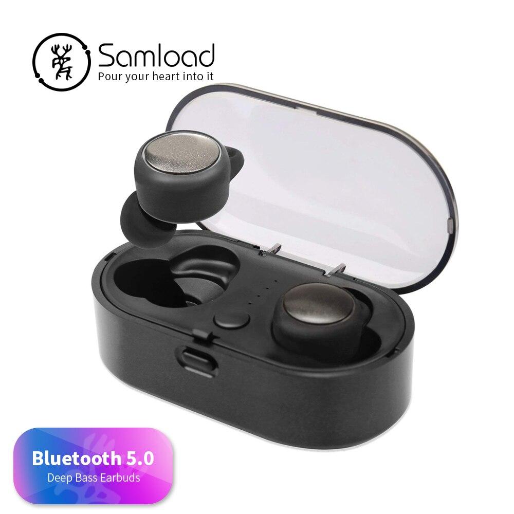 Samload T02s Wireless Headphone Bluetooth 5 0 Music in ear Earbud Handfree Earphone with Charging Box