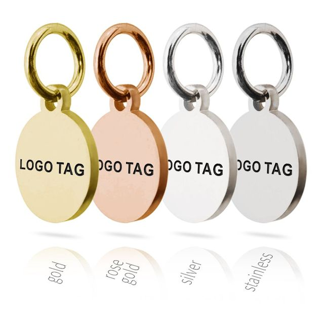 MYLONGINGCHARM 50pcs Custom Logo Tags Stainless Steel Engravable Charms 10mm Steel  Gold Colors Round Circle Necklace Tags