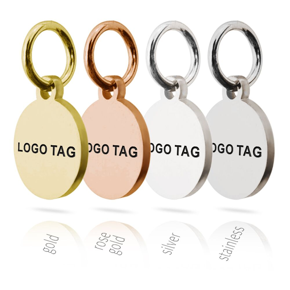 MYLONGINGCHARM 50pcs Custom Logo Tags Stainless Steel Engravable Charms 10mm Steel Silver Gold Colors Round Circle Necklace Tags