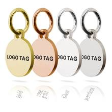 MYLONGINGCHARM 50pcs Custom Logo Tags Stainless Steel Engravable Charms 10mm Steel Silver Gold Colors Round Circle Necklace Tags(China)
