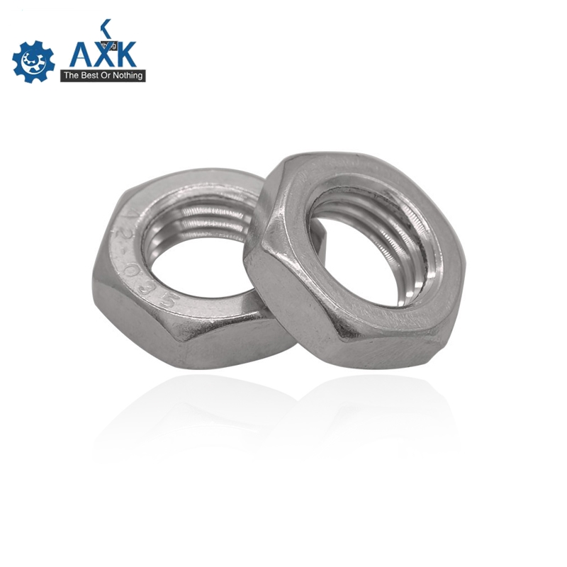 100pcs DIN439 GB6172 304 Stainless Steel M2.5 M3 M4 M5 M6 M8 M10 M12 Hexagonal Nut Thin Hex Nuts SUS304