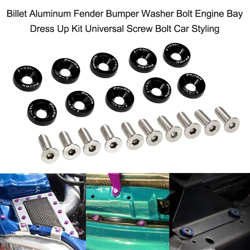 20PCS Gold Billet Aluminum Bumper Fender Washer Bolt Engine Bay Screw Dress Up