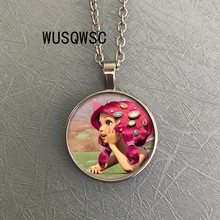 WUSQWSC Fashion cartoon Mia and me necklace Fairy Elf Anime round photo hand glass dome pendant long chain necklace for child(China)