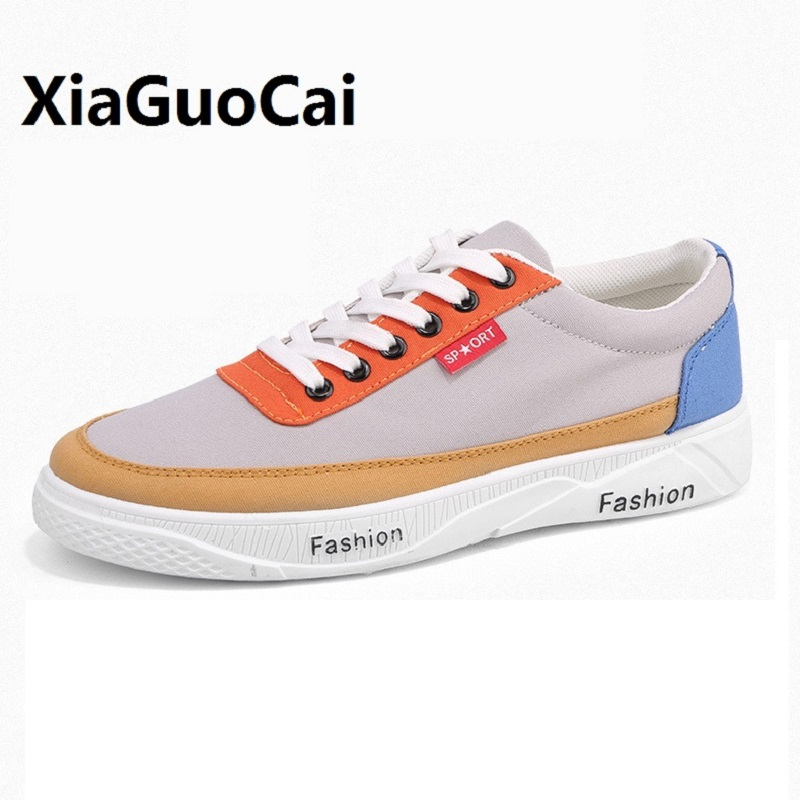 Spring Autumn Man Casual Shoes Canvas Breathable Patchwork Lace Up Fashion Hard-Wearing Korean Sewing Walking Flat Shoes Man