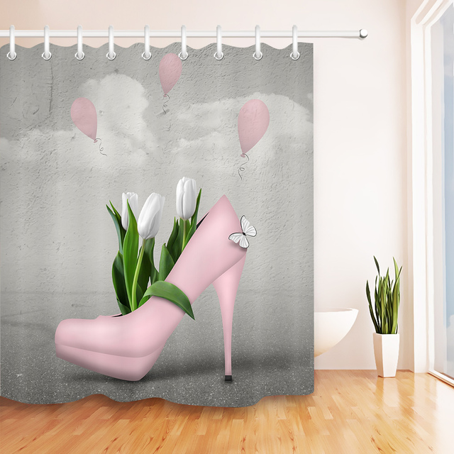 LB Pink High Heel Shoe And White Green Tulips Shower Curtains Flower Butterfly Bathroom Curtain Fabric