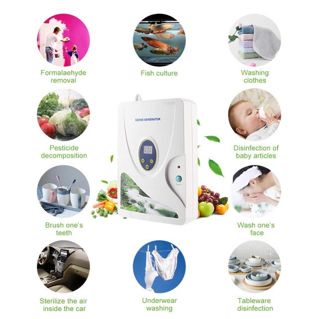600mg Digital Ozone Generator Ozonizer Oil Meat Fruit Vegetable Sterilizer Fresh Air Purifiers