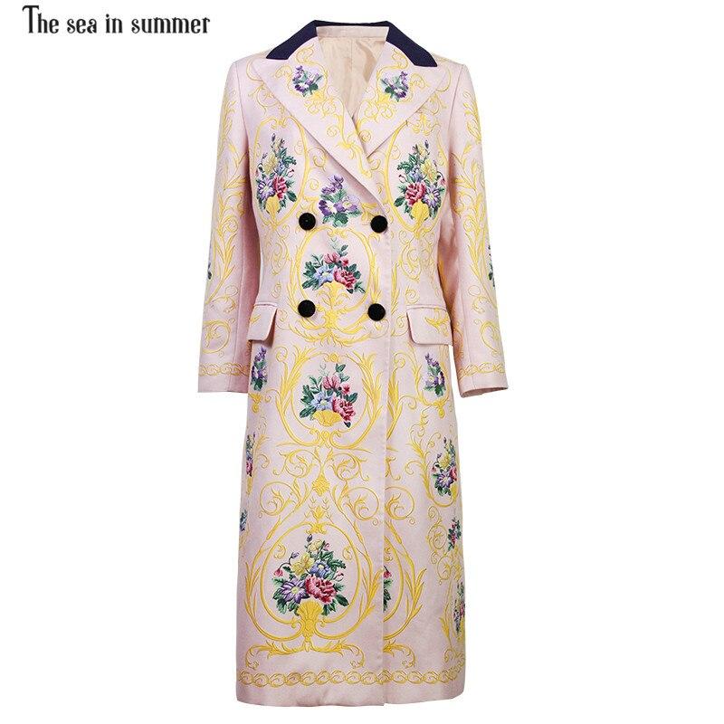 Floral Mode Été Tranchée Automne La Double Multi Hiver Manteau Haute Long Outwear À 2018 En Mer Boutonnage Style Femmes De ZxxCEfq