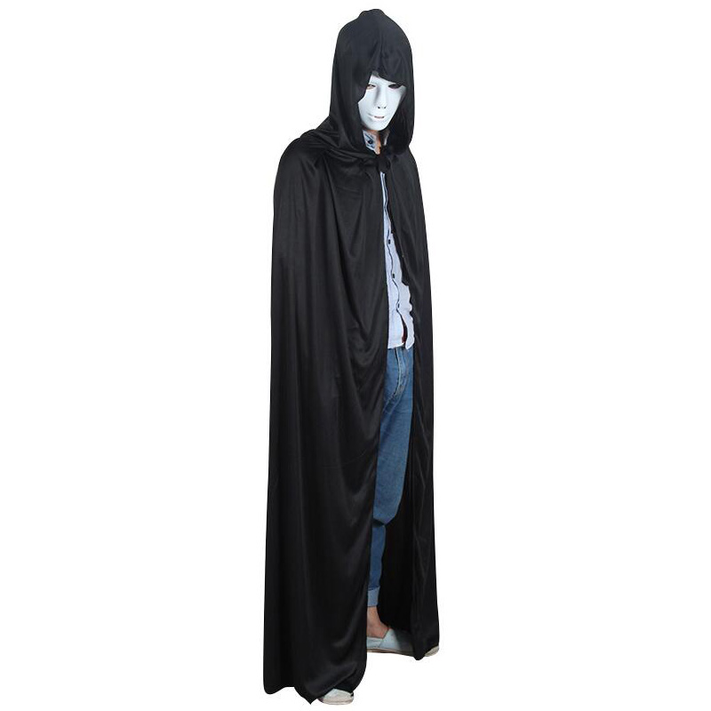 Black Halloween Devil Long Tippet Cape Terrifying Theater Prop Death Hoody Cloak