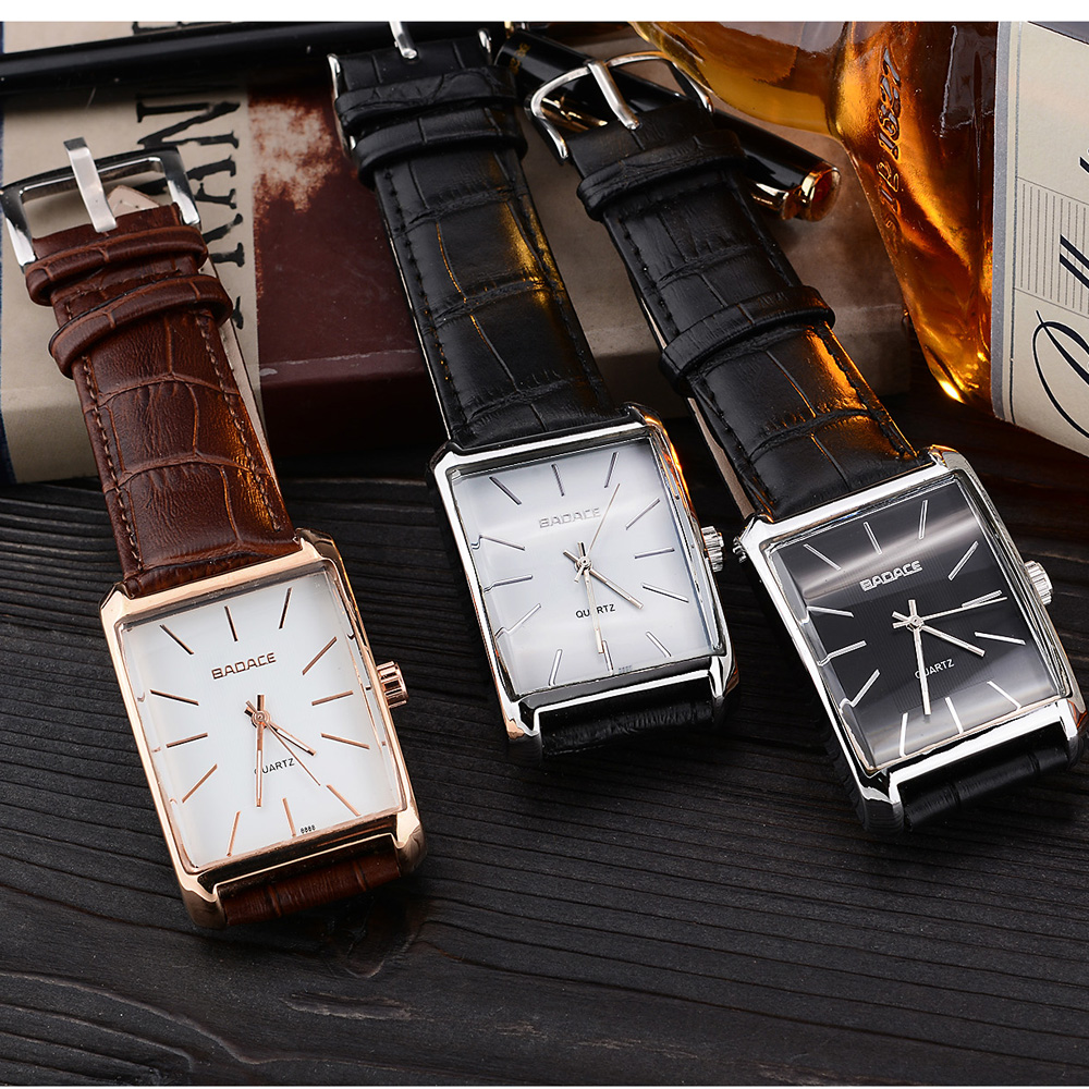 Fashion Miyota Movement 2035 Square Quartz Watch Men Dress Watches Leather Dress Wristwatches Fashion Casual Watches