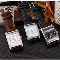 Movimento Miyota 2035 Praça da moda Relógio de Quartzo Homens Se Vestem Relógios De Couro Vestido de Pulso Relógios Moda Casual
