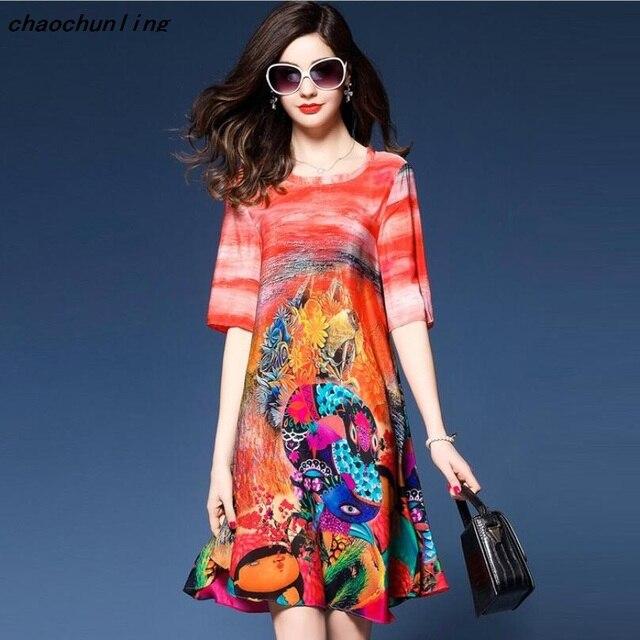 2017 Mã Lớn của Phụ Nữ Lỏng Lẻo Váy Mỏng In Ngắn Tay Áo Mô Phỏng Lụa Đầm Voan O-Cổ Màu Đỏ A-Line Hàn Quốc ăn mặc