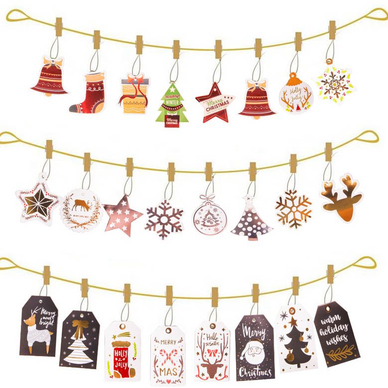 12PCS/Set Merry Christmas Kraft Paper Card Tags Labels DIY Scrapbooking Crafts Hang Paper Tags Christmas/Wedding Party Favors