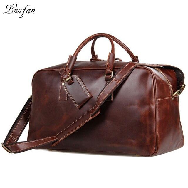 7247556e9f7e Wanita kulit asli tas travel mengkilap pria Sapi kulit bagasi tas travel  kapasitas besar tote Red