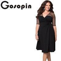 Gosopin Brand New Autumn Dress Plus Size XXL Women Clothing Short Sleeve Large Size Sexy Dress Black Party Nightclub LC60671