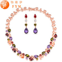 FYM Luxury Colorful Cubic Zircon Necklaces Drop Earrings Rose Gold Plated Jewelry Sets For Women Bridal