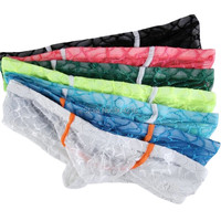 7PCS/Lot Free Shipping Colorful Mens Sexy Small Boxer Underwear Breathable Panties Male Lace Transparency Erotic Boxer S M L