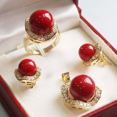 Fine Jewelry word Set 10mm &14mm red South sea Shell Pearl Earrings Necklace Ring Lovely woman's gift