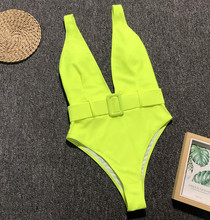 Helisopus New Neon Green One Piece Bodysuit Women 2019 Summer Leopard Solid Color High Waist Beach Suit with Waistband