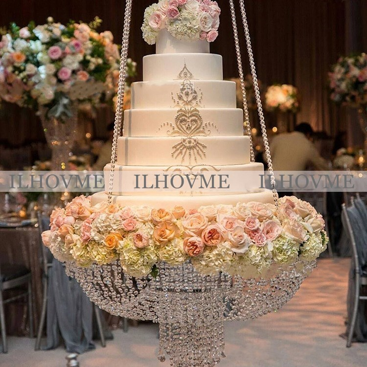 Diamètre 40 cm/45 cm/60 cm Pendaison De Luxe Grille À Gâteau De Mariage Gâteau Stand Transparent Cristal Perles Acrylique principal Décoration De Table