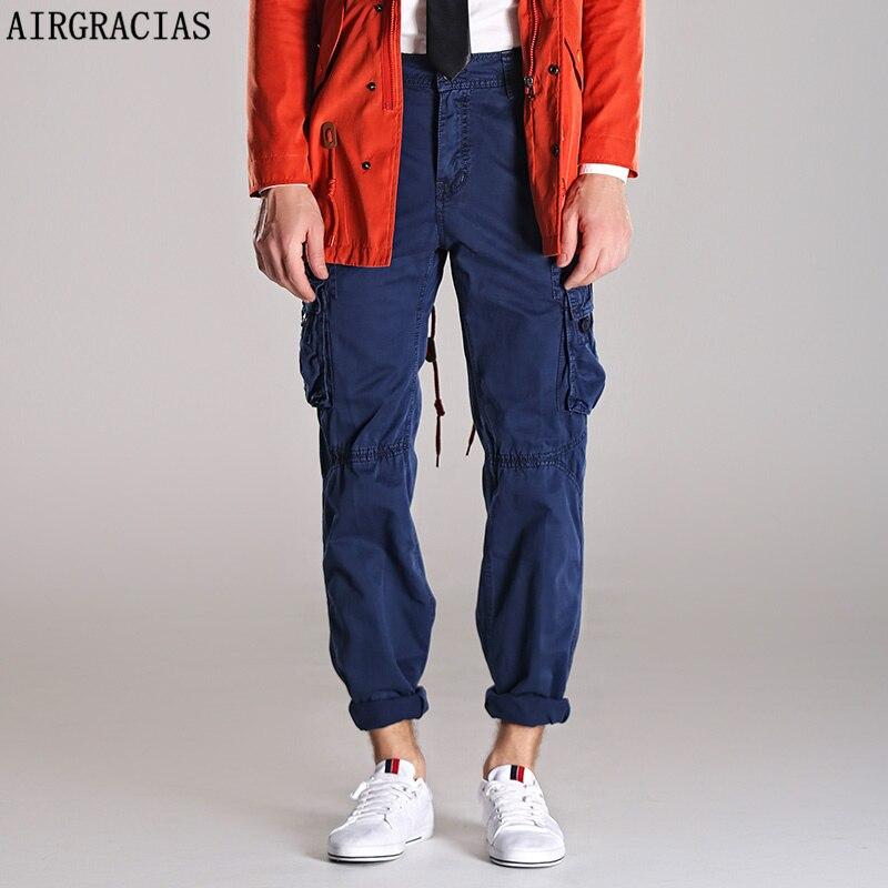 AIRGRACIAS Autumn Mens Cargo Pants Dark Grey Straight Pant Men Military Style Casual  Long Trousers Cotton Material