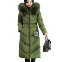 7XL Sıcak Bayan Aşağı Pamuk Ceketler Kış Yeni Gevşek Artı boyutu kapşonlu Süper Uzun Ceket Büyük Kürk yaka Çıkarılabilir Kabarık Parkas 352