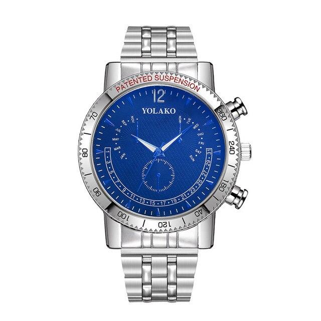 Venta caliente Nuevo 2018 hombres de moda relojes YOLAKO Acero inoxidable  reloj de cuarzo reloj analógico 24186862f9a4