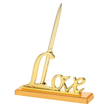 "1pc Gold Pen Holder Party Favors Wedding Signing Pen with ""Love"" Holder Wedding Decoration Pen Set Supplies for Guest Book"