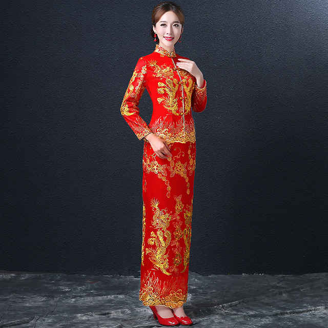 Dragon Phoenix Cheongsam Dress Women Red Lace Cheongsams Sequins Chinese Wedding Dresses Two Pieces Long Robes Qipao