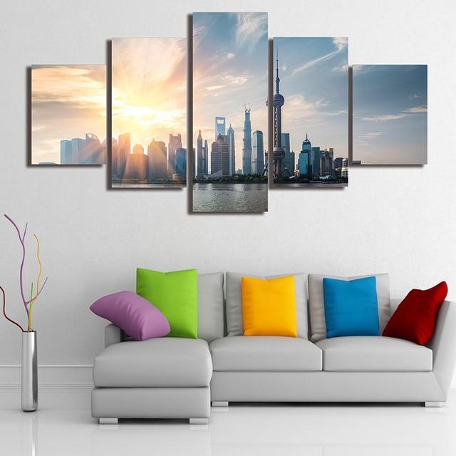 5 Panels Chinesische Landschaft HD Gedruckt Malerei Oriental Pearl TV Turm Malerei  Wohnzimmer Kundengebundene Leinwand Wandfarbe