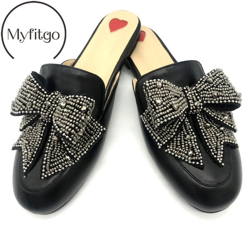 Girls Flat Mules Rabbit Fur Butterfly knot Women Slippers Slide on Shoes Women s Crystal Bow