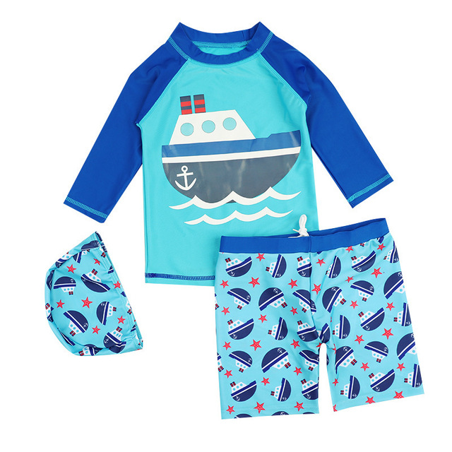 3dc90b254b Brand Kids Swimwear Boys Professional Swim Costume Children Two Piece  Swimsuit with Swimming Cap Kid Bathing