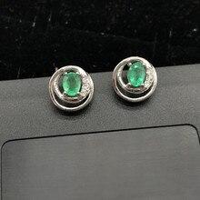 Натуральный изумруд 925 пробы серебряные женские серьги ювелирных камней ювелирные изделия дизайн: подсолнечник лучший подарок для девочек и женщин; обувь