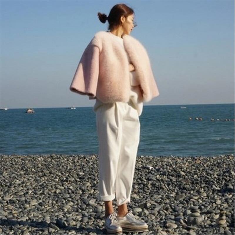 2019 Yeni Kış Kadın Kürk Kore Tarzı Pembe Güzel Moda En - Bayan Giyimi - Fotoğraf 4