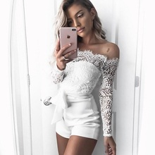 цена на 2020 New Summer Lace Sexy Jumpsuit Romper Women High Waist Off Shoulder White Beach Playsuit Elegant Bodycon Bow Flare Overalls