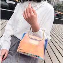 цены New Brand Women Bag Fashion Female Handbag High Quality PU Leather Transparent Shoulder Bag Jelly Chain Candy Color Shoulder Bag