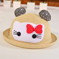 Cat Ears Hat 2016 New Summer Style Kids Sun Caps Brand Straw Hat Caps Soild Beach Lovely Girl Sun Hat Baby Cat Ears Hat Caps