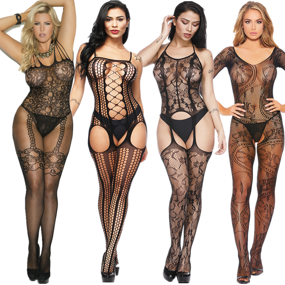 Women Bodystocking Sexy Erotic Lingerie Sheer Bodysuit Porno Body Suit Lenceria Mujer Underwear Crotchless Babydoll Costumes 101