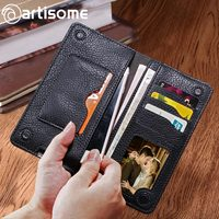 Universal PU Leather Wallet Men Female Women Purse Credit Card Holder Phone Bag Case For IPhone