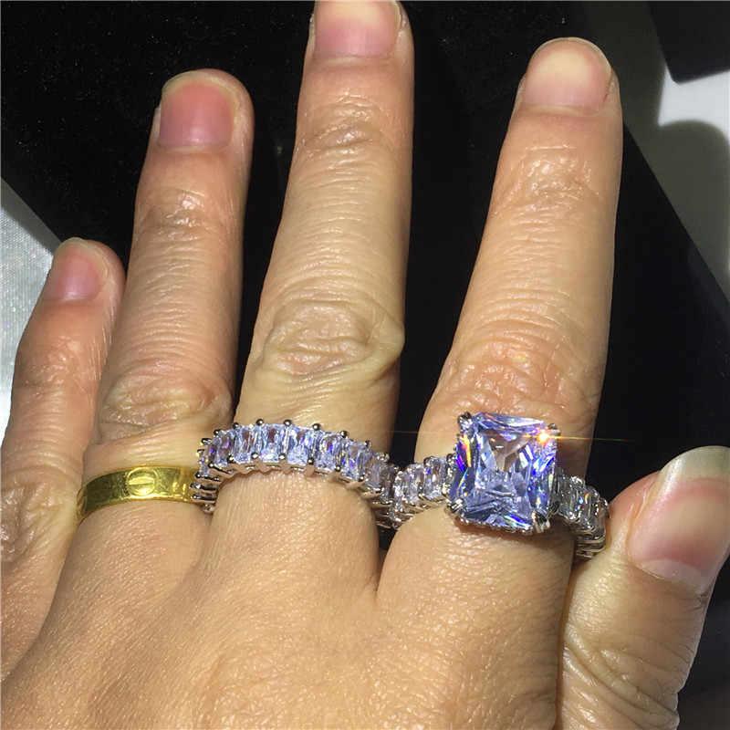 Luxo Promise ring Define 925 Sterling silver AAAAA Cz do corte Da Princesa Festa de casamento anéis da faixa para as mulheres homens jóias Dedo presente