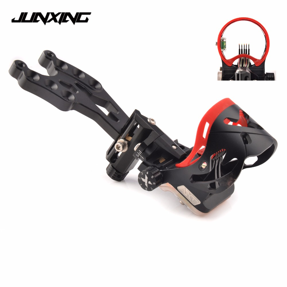 High Quality 5 Pins Compound Bow Sight in Black Color with Sight Light and Bubble Level for Bow Archery Shooting Hunting