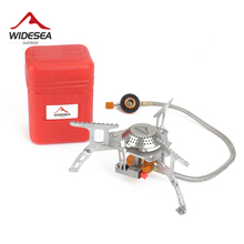 Widesea Outdoor Gas Stove Camping Gas burner Folding Electronic Stove hiking Portable Foldable Split Stoves 3000W cheap Included WSS-201 Isobutane Gas Mixture No wind shield Liquid Seasoning Stainless Steel 3 Manual High Altitude