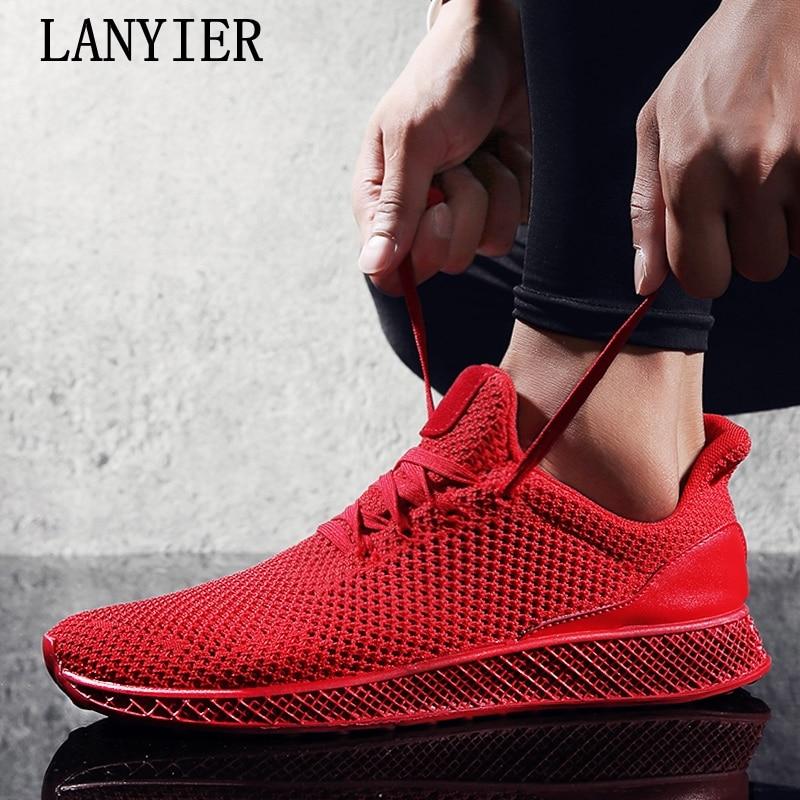 2018 новые, более дышащие удобные модные кроссовки Сплошной Красный Серый Черный обувь размер 39-44 повседневная обувь бренд для мужские
